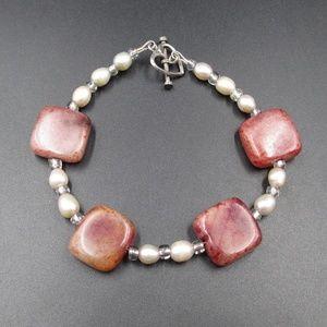 Vintage 8 Inch Red Stone & Genuine Pearl Bracelet